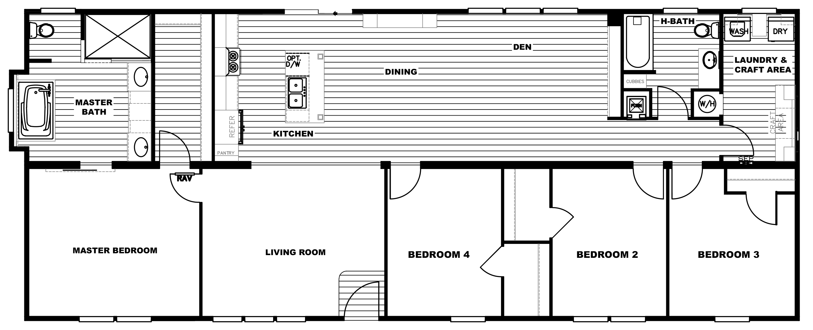 4 bedroom floor plan p the revere hawks homes for 4 bedroom mobile home floor plans